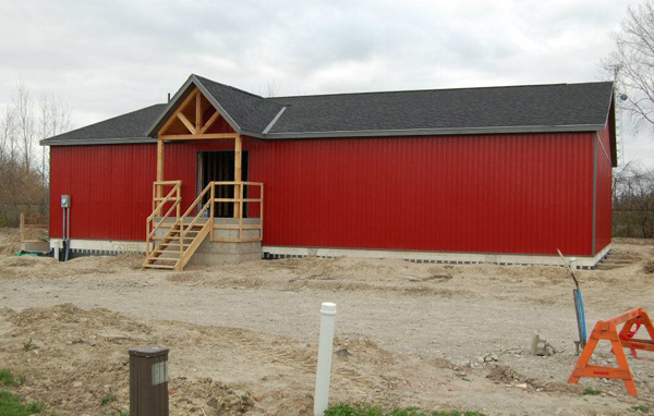 The partially completed Maple City Squash Club in Chatham