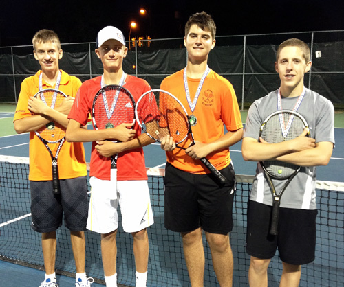 Left to Right - (l-r) Aiden Poole, Evan Thibert (Gold Division Doubles Champs) and Alin Dovancescu, Ben Davies (runner up)