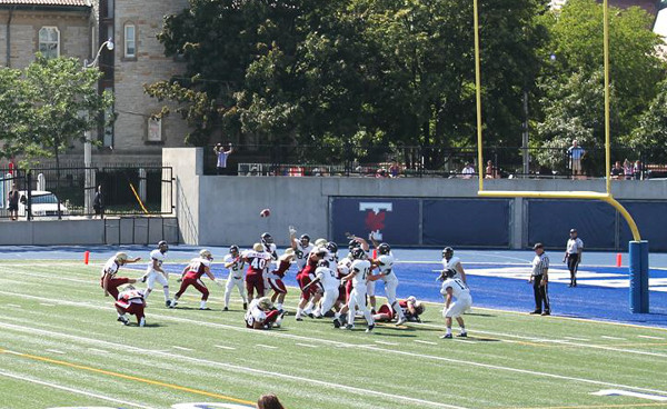 Clark Green kicking a preseason field goal with Concordia University - Photo from Facebook