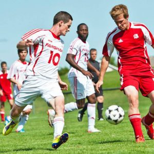 Colin McArthur of the Fanshawe Falcons Soccer Team