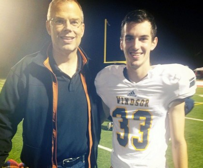Jake Lindley, and his father Mike, following his first OUA football game