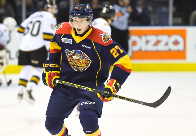 Trent Fox skating with the OHL's Erie Otters - Photo by Aaron Bell/ OHL Images